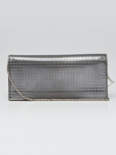 Christian Dior Silver Micro Cannage Quilted Patent Leather Lady Dior Croisi?re Wallet On Chain Clutch Bag