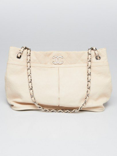 Chanel White Calfskin Leather Natural Beauty Tote Bag