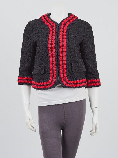 Gucci Navy Blue/Red Textured Knit Sweater Jacket Size 6/40