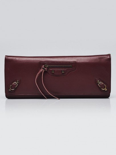 Balenciaga Burgundy Leather Papier Wand Long Clutch Bag