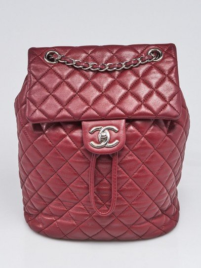 Chanel Burgundy Quilted Lambskin Leather