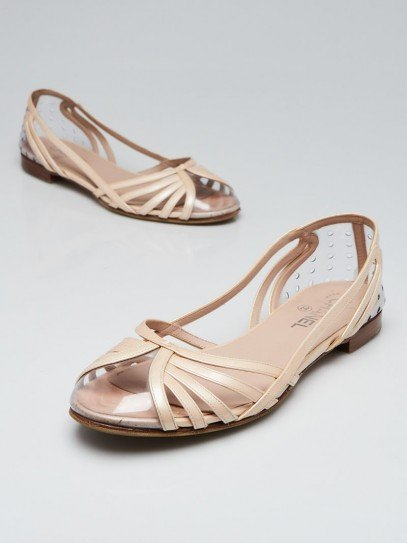Chanel Beige Patent Leather/PVC Flat Sandals Size 9.5/40
