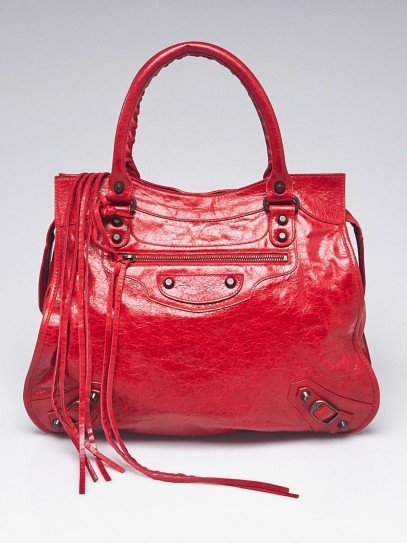 Balenciaga Rouge Vermillion Chevre Leather Motorcycle Mid-Afternoon Bag