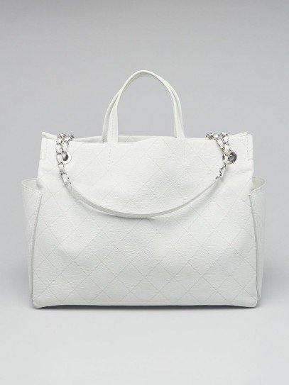Chanel White Quilted Caviar Chain Shopping Tote Bag