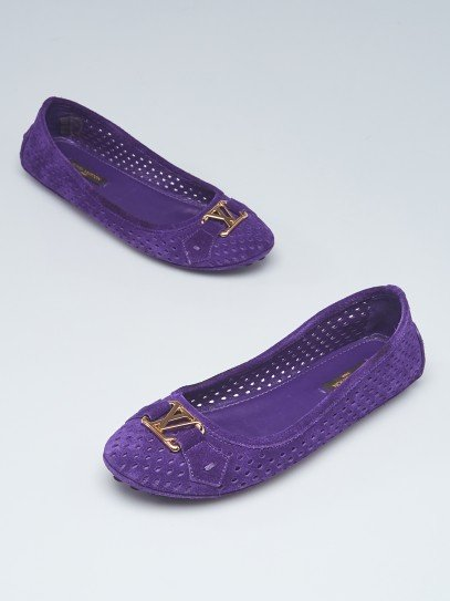 Louis Vuitton Violet Perforated Suede Oxford Ballet Flats Size 4.5/35