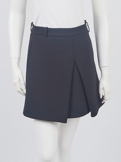 Balenciaga Black Polyester Pleated Mini Skirt Size 2/36