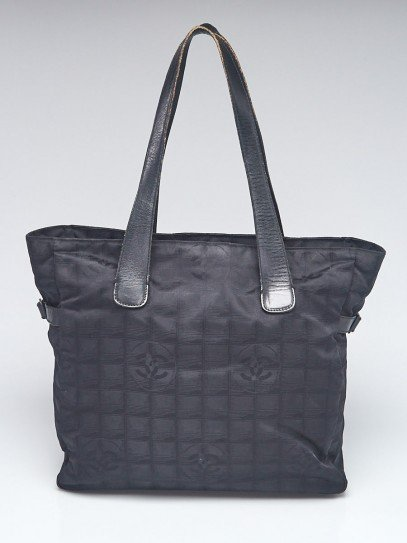 Chanel Black Nylon CC Logo Travel Line Large Tote Bag