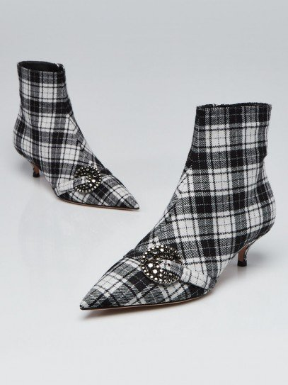 Christian Dior Black/White Plaid Wood Ankle Boots Size 6.5/37