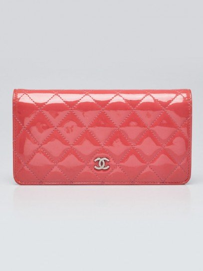 Chanel Pink Quilted Patent Leather L Yen Wallet