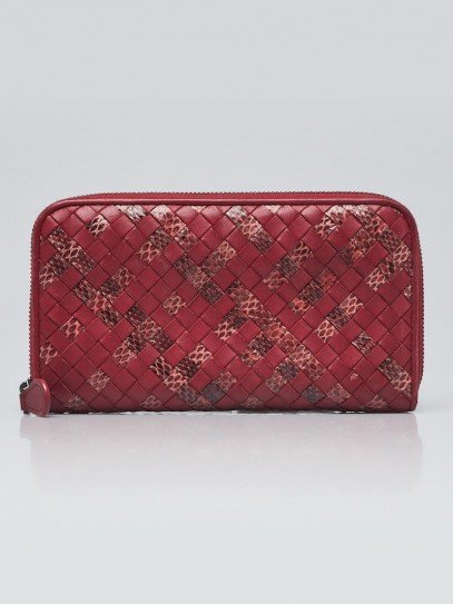 Bottega Red Intrecciato Woven Nappa Leather/Snakeskin Zip Around Wallet