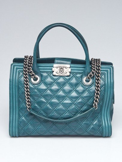 Chanel Green Double Stitch Leather Boy Tote Bag
