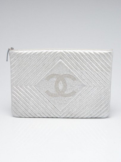 Chanel Silver Metallic Chevron Quilted Leather Studded CC Large O-Case Zip Pouch