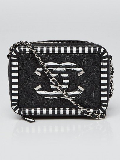 Chanel Black/White Quilted Caviar Leather Filigree Vanity Clutch with Chain Bag