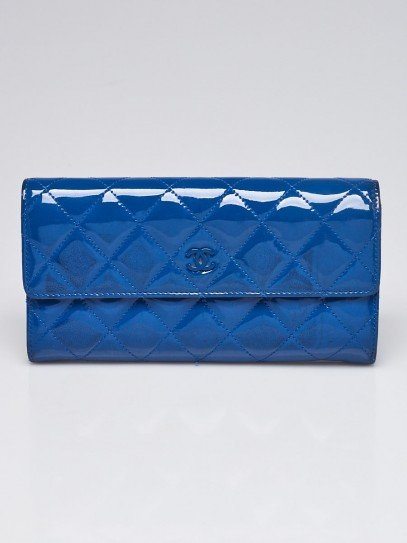 Chanel Bright Blue Quilted Patent Leather CC L-Gusset Flap Wallet