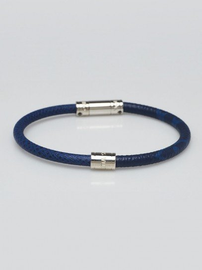 Louis Vuitton Blue Taiga Leather Split Bracelet Size 21