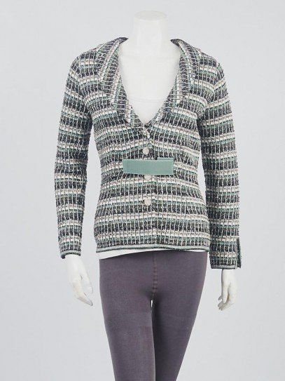 Chanel Green/Black/Silver Cotton Pullover Sweater Size 2/36