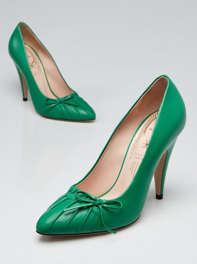 Gucci New Shamrock Nappa Leather Decollete Bow Pumps Size 6.5/37