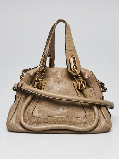 Chloe Greige Pebbled Leather Small Paraty Bag