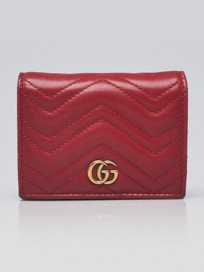 Gucci Red Quilted Leather GG Marmont Card Case