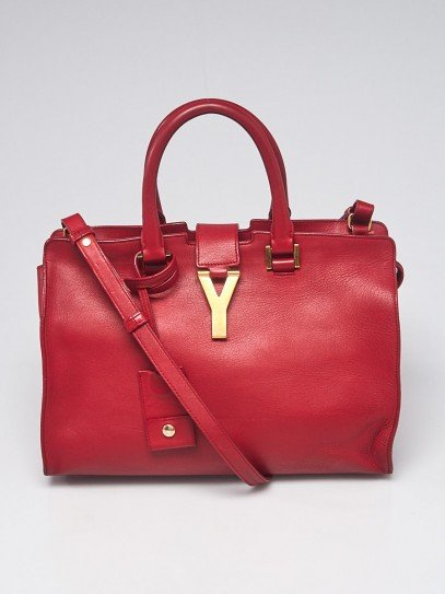 Yves Saint Laurent Red Calfskin Leather Small Cabas ChYc Bag