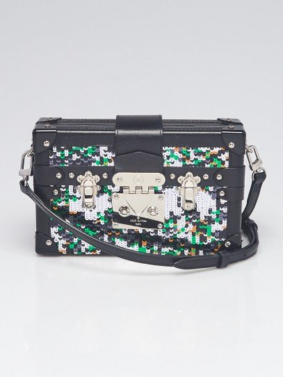 Louis Vuitton Green/Silver/Black Sequin and Leather Petite Malle Bag