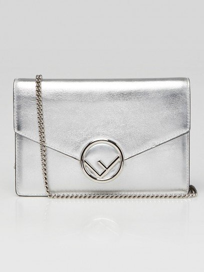 Fendi Silver Leather Wallet On Chain Clutch Bag 8BS006