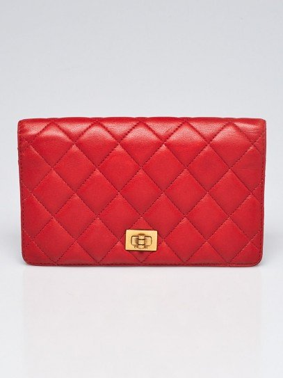 Chanel Red Quilted Lambskin Leather Reissue L Yen Wallet