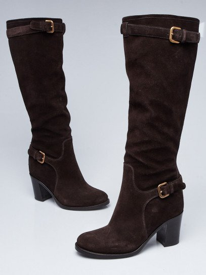 Prada Brown Suede Knee-High Buckle Boots Size 7/37.5