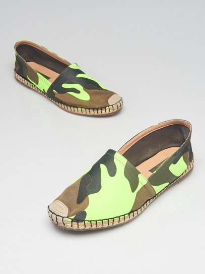 Valentino Green/Brown Camouflage Print Canvas Espadrille Flats Size 8.5/39