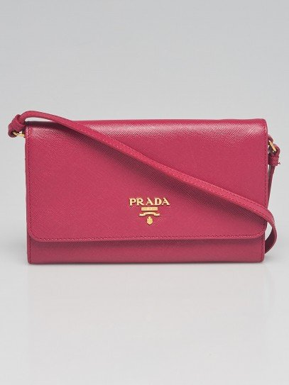 Prada Ibisco Saffiano Metal Leather Wallet on Chain Clutch Bag 1M1437