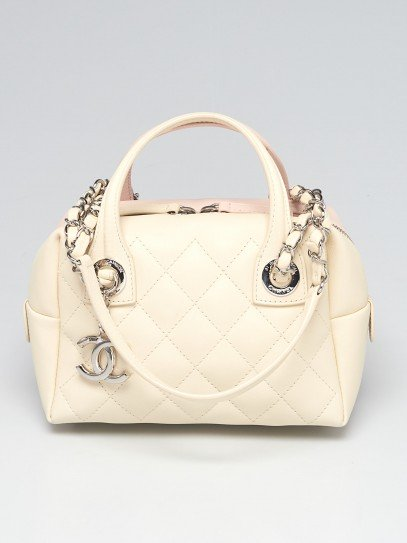 Chanel Pink/Ivory Quilted Calfskin Leather Featherweight Mini Bowling Bag