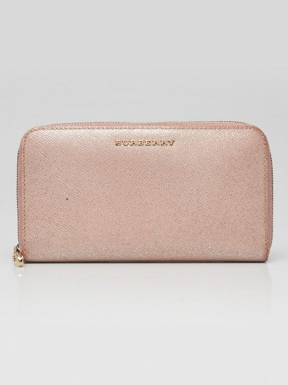 Burberry Pink Glitter London Leather Elmore Zip Around Wallet
