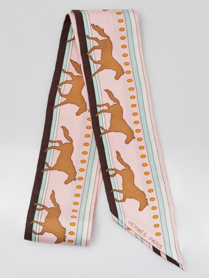Hermes Rose Pale/Chocolat/Vert D'Eau Printed Silk Sequences Twilly