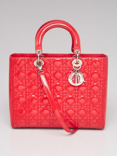 Christian Dior Light Red Cannage Quilted Patent Leather Large Lady Dior Bag