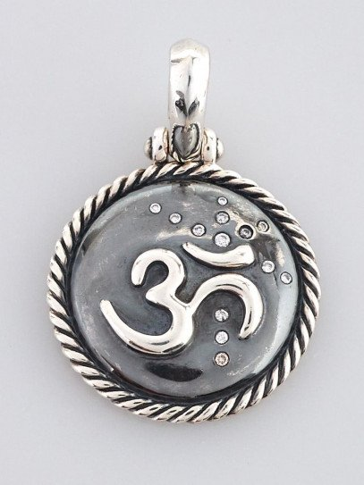 David Yurman Sterling Silver Om Amulet With Diamonds Pendant