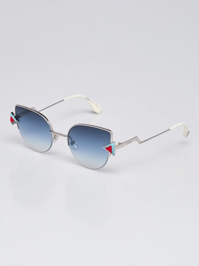 Fendi Silvertone Metal Gradient Tinted Lens Cat Eye Sunglasses - FF0191/S