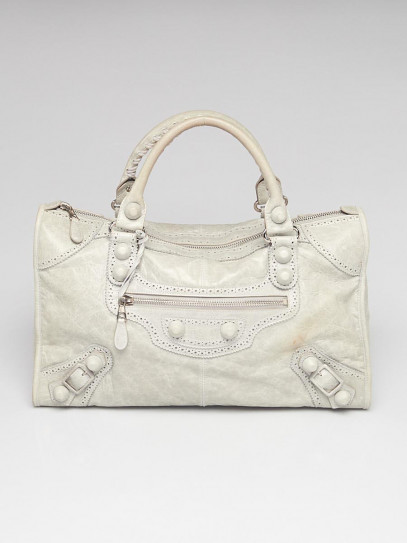 Balenciaga Argent Lambskin Leather Giant Brogues Covered Work Bag