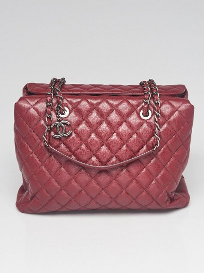 Chanel Dark Red Quilted Caviar Leather Foldover Shopping Tote Bag