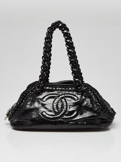 Chanel Black Crinkled Patent Leather Rhodoid Modern Chain Bowling Bag