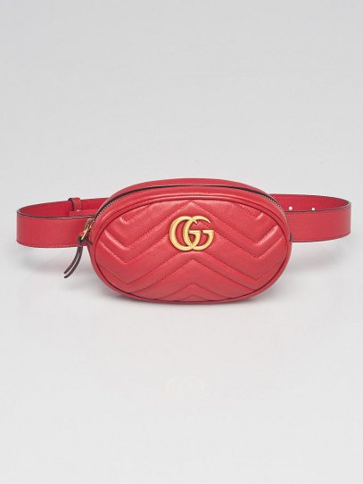 Gucci Red Quilted Leather GG Marmont Waist Belt Bag Size 75/30