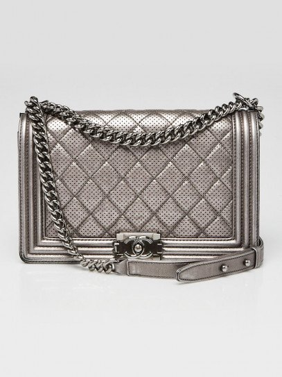 Chanel Dark Silver Perforated Quilted Leather New Medium Boy Bag