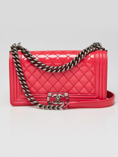 Chanel Bright Pink Quilted Patent Leather Medium Boy Bag