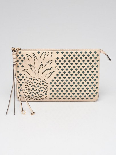 Chloe Beige/Green Leather/Suede Perforated Pineapple Clutch Bag