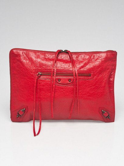 Balenciaga Rouge Lipstick Lambskin Leather Classic Large Pouch Bag