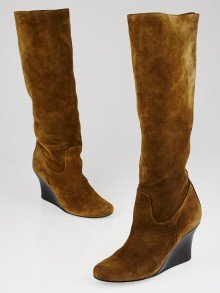 Lanvin Camel Suede Knee High Boots Size 6.5