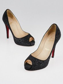 Christian Louboutin Black Satin Strass Very Prive 120 Pumps Size 7.5/38
