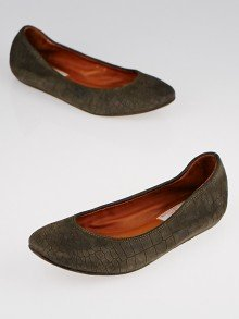 Lanvin Grey Embossed Leather Classic Ballet Flats Size 4.5/35