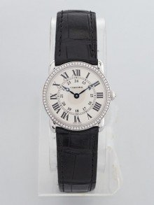 Cartier 29mm 18k White Gold and Diamond Black Alligator Strap Ronde Louis Cartier Watch