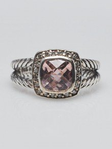 David Yurman 7mm Morganite with Diamonds and Sterling Silver Albion Ring Size 7