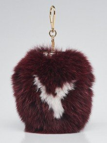 Louis Vuitton Amarante Fox Fur Fuzzy V Bag Charm
